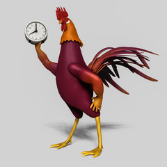 rooster with alarm clock