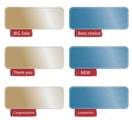 Set of color labels with red tags, vector illustration