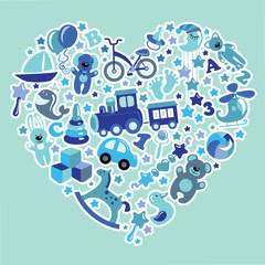 Toys icons for baby boy in  Heart,Blue colors