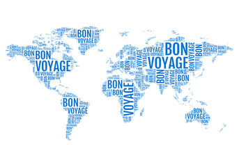 bon voyage, typographic world map, vector