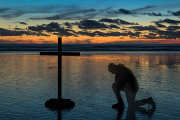 Prayer Sunset Beach Cross