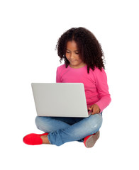 African little girl with a laptop