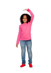 African girl measuring what has grown