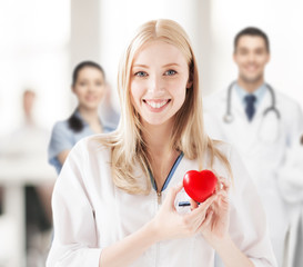 female doctor with heart
