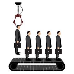 selection of a businessman on a conveyor
