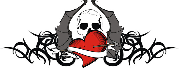 heart winged bat skull tattoo tshirt