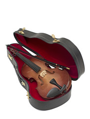wood violin in his case isolated over white