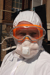 Industrial Cleaner wearing his full ppe