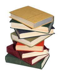 stack of Old books isolated white