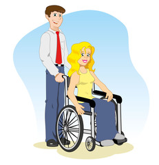 wheelchair with woman companion