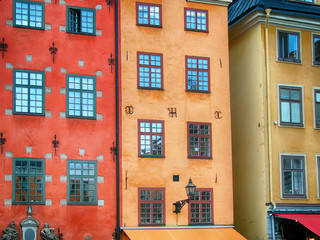 Colorful building exteriors in Stockholm Sweden