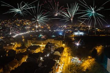 Firework over city Veliko Tarnovo