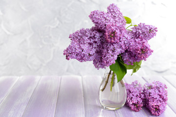 Beautiful lilac flowers in vase on table on light background