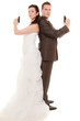 Wedding couple. Bride groom with handgun weapon