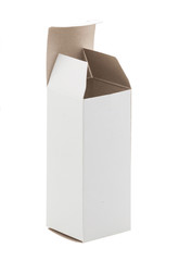 Close up of a small white cardboard box , isolated on white back