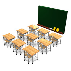 Black Board And Some School Desks