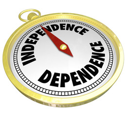 Independence Vs Dependence Compass Pointing Way Direction