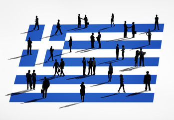 Business People with Greek Flag