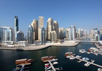 Dubai Marina high angle view. Dubai, United Arab Emirates