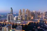 Dubai Marina illuminated at night. United Arab Emirates