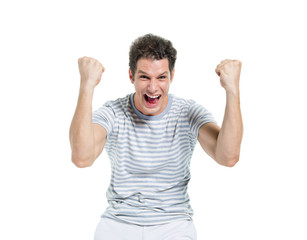 Screaming Casual Man Celebrating Victory