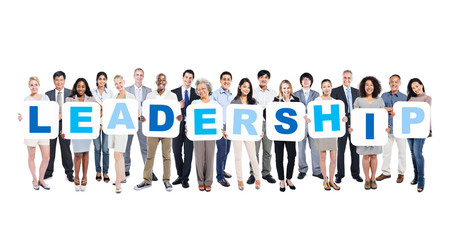 Group Of Business People Holding The Word Leadership
