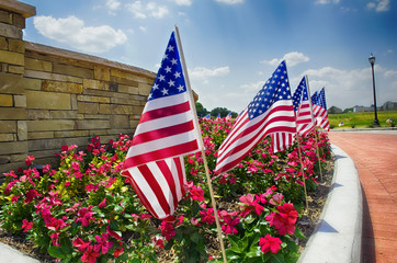 Row of American flags displayed on the street side