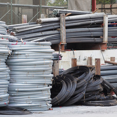 Steel bars at construction site