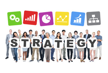Multiethnic Business People Holding The Word Strategy