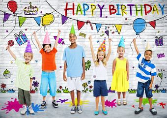 Group of Children on Birthday Party