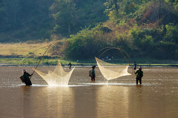 People catch fish by lift net on ditch