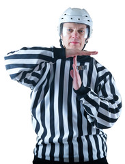 Hockey referee demonstrate timeout gesture