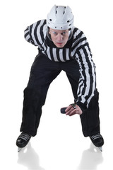 Hockey referee on face off position