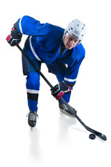 Hockey player in crouch position