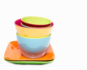 Melamine colorful  set of bowl cup and dish on white background