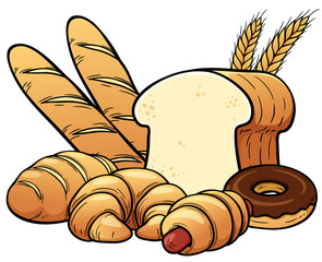 Vector illustration of breads set