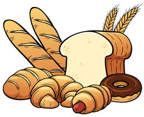 Vector illustration of breads set