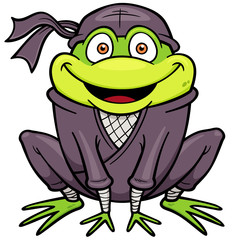 Vector illustration of Cartoon Ninja Frog