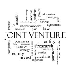 Joint Venture Word Cloud Concept in black and white