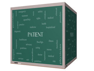 Patient Word Cloud Concept on a 3D cube Blackboard