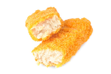 fish sticks isolated on a white background