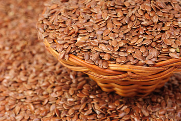 close up of flax seeds as   food background
