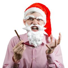Angry Santa with razor