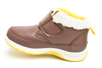 brown shoe for kid on white background