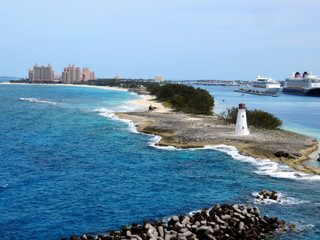 A lighthouse at the harbor entrance in Nassau, Bahamas