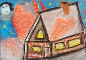 children drawing - country house in night