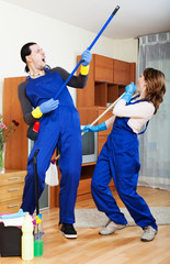 Playful cleaning premises team
