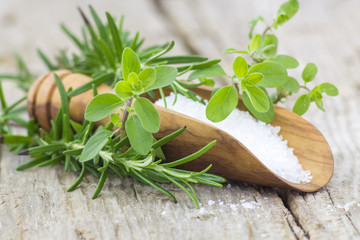 Healthy sea salt and fresh herbs