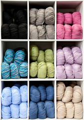 Nine Box Display of Colorful Yarn Balls for Knitting