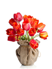 Red tulips vase wrapped in burlap on white background